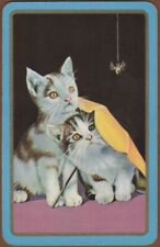 Playing Cards 1 Single Card Old Vintage KITTENS CATS + SPIDER Kitten Cat