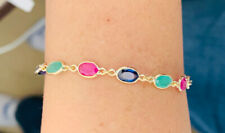 14k Solid Yellow Gold Bracelet Natural Mixed Sapphire Emerald & Ruby 3.25GM