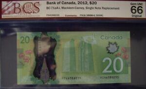 Canada BC-71aA-i 2012 $20 Single Note Replacement FIV6388035 - BCS GemUnc-66