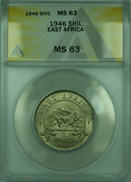 1946 1 Shil East Africa ANACS MS-63 1 Shilling Silver Coin KM#28