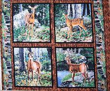 """34"""" Fabric Panel - Springs Wild Wings Cradle Rock Deer Nature Pillowcase Block"""