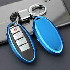 Car Key Case Chain For Nissan Infiniti Ring Fob Cover Holder Accessories Blue
