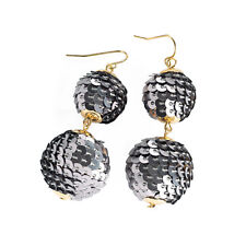 Ladies Gold Coloured Hematite Sequin Double Ball Drop Earrings for Pierced Ears