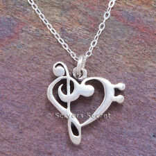 925 Sterling Silver Heart TREBLE BASS CLEF MUSIC note charm Pendant Necklace