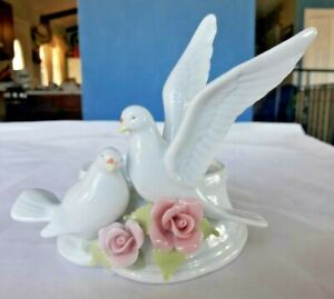 Cosmos Fine Porcelain White Birds with Pink Flowers Candle Holder
