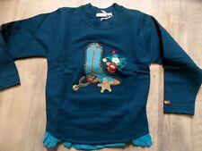 DUCKY BEAU schönes Sweatshirt Cowboystiefel blaugrün Gr. 104 NEU ST817