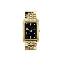 Caravelle Men's Quartz Gold-Tone Tonneau Black Dial Bracelet 30mm Watch 44A110