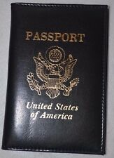 Genuine Leather Embossed USA Passport Cover Organizer Travel ID Holder