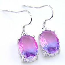 Handmade Oval Cut Purple Bi Color Tourmaline Gemstone Silver Dangle Earrings