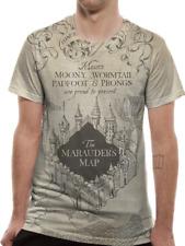 Mens Harry Potter Marauders Map Sublimated T-shirt Top Hogwarts Official L