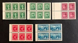 Canada #231a,249a,252a,254a,C9a Booklet Panes MLH/MNH(C9a)