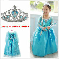 Kids Girls Princess Elsa Dress FROZEN Queen Cosplay Costume Fancy Dress+Crown,