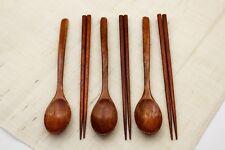 6PCS - Wood Spoons & chopsticks Soup Eco Friendly Japanese Tableware Natural