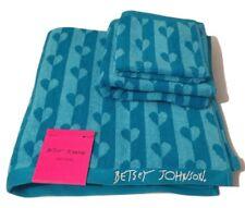 Betsey Johnson Flutter Hearts Aqua Bath Towel Hand Towel Washcloth 3 piece Set