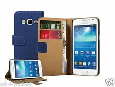 Wallet BLUE Leather Case cover pouch for Samsung Galaxy Express 2 / SM-G3815