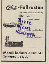 ZSCHOPAU, Werbung 1938, Metall-Industrie GmbH Blau-Fuß-Rasten Maschinen