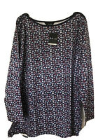 Yours ladies t-shirt top plus size 18 20 22/24 26/28 30/32 navy blue floral