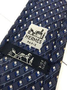 Authentic HERMES 918HA Striped Cube Design On Blue 100% Silk Necktie Tie