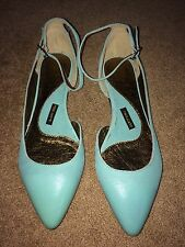 Anthropologie Slingback Point Flats by Pied Juste size 38 EU 7.5/8 US Teal Aqua