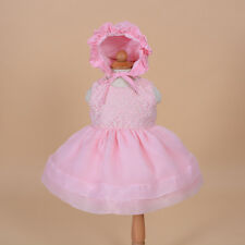 New Girls Pink Christening Party Dress with Bonnet 18-24 Months