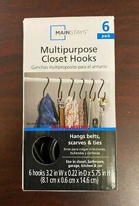 (6-Pack) MAINSTAYS ~ HEAVY DUTY Multipurpose STEEL S Hooks Closet Hanger Set