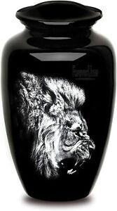 Urns For Human Ashes-Roaring Lion Pictured Adult Cremation Urn For Human Ashes