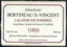 Étiquette Château BERTINEAU St. VINCENT. 1986. LALANDE de POMEROL