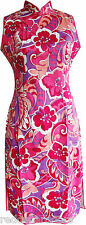 New Womens Stretch Cheongsam Sleeveless Dress Floral Cotton Lycra Sz L