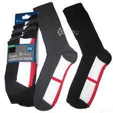 10 Pairs Men's Ex Store England St George Cotton Rich Black Socks Size 6-11