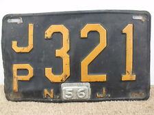 VINTAGE ORIGINAL 1956 NEW JERSEY NJ LICENSE PLATE ~ JP 321 ~ BY CHANCE COUNTDOWN