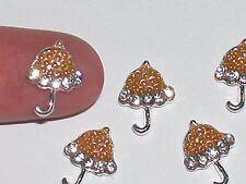 4Pc Miniature dollhouse tiny little nail craft Umbrella floating crystal 10x14mm