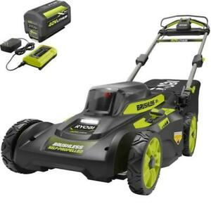"""Ryobi RY401120-Y 40V 20"""" Brushless Self-Propelled Lawn Mower Kit (with Battery &"""