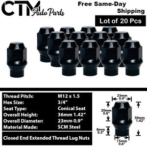20Pc BLACK M12x1.5 EXTENDED THREAD ET STYLE LUG NUT FIT CHEVY CADILLAC & MORE