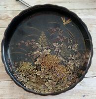 Pretty 50's Shibata Japan Tenmoku-Kiku Black Porcelain Candy Dish w Gold Gilt