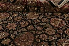Classic All-Over Floral Agra Oriental Area Rug BLACK/BURGUNDY Living Room 9'x12'