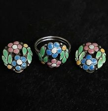 Antique arts crafts Bernard Instone silver enamel jewellery set ring earring lot