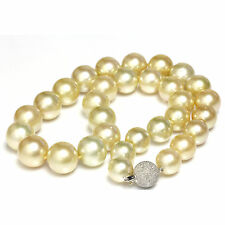 South Sea Pearl Necklace 14kt solid White Gold  12 - 15 mm Golden / Champagne
