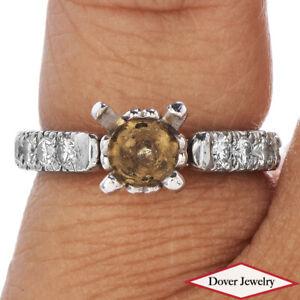 Estate Diamond Platinum Fancy Engagement Mounting Ring 5.6 Grams NR
