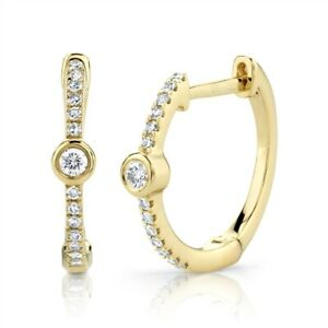 Diamond Bezel Hoop Earrings 14K Yellow Gold Round Cut Natural Small Cuff 0.12 CT