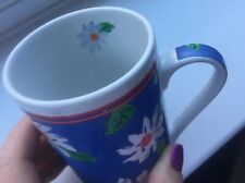 VINTAGE Mug Cup Floral Daisies Blue White NEW