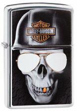 """Zippo Lighter """"Harley Davidson - Skull & Helmet"""" No 29739 New - black ice chrome"""