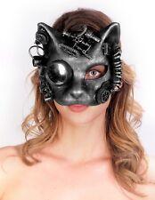 Steampunk Cat  Mask Goggles Punk Goth Rave Cyber Burning man Antique Silver