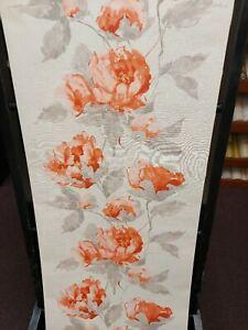 Orange, Coffee & Cream, Floral Textured Wallpaper
