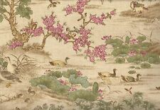 Wallpaper Faux Tapestry Duck Phesant Heron Lillypads Trees Green Burgandy on Tan
