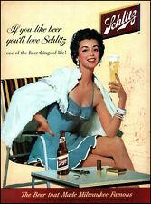 1957 Schlitz Beer woman in swimsuit & towel chair vintage art print ad adl87