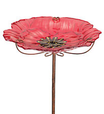 Bird Baths Glass - Birdbath/Feeder w/Stake - POPPY - Regal Art & Gift 11920G