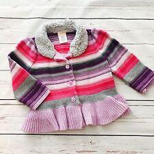 c617525ed3a2 Gymboree Purple Stripe Ruffle Sweater Faux Fur Collar Button Cardigan Sz  12-18m