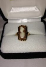Vintage 10KT Yellow Gold Shell Cameo/Black Onyx Flip Ring
