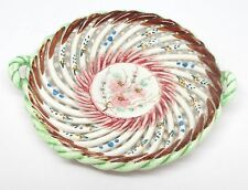 Spain Hand Painted Flowers Pierced Lattice Weave Pottery Trinket Dish - As Is