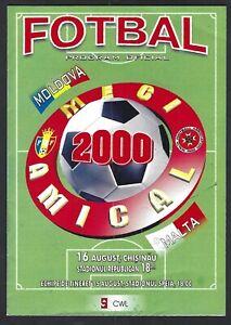 Rare Malta Football Programme Malta (away) vs Moldova Friendly Match 2000